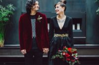 06 a black wedding gown and a black look spruced up with a deep red velvet blazer for the groom