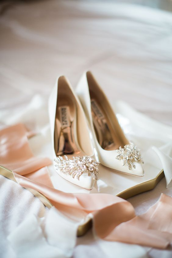 creamy pointed toe heavily embellished wedding shoes for a bright touch
