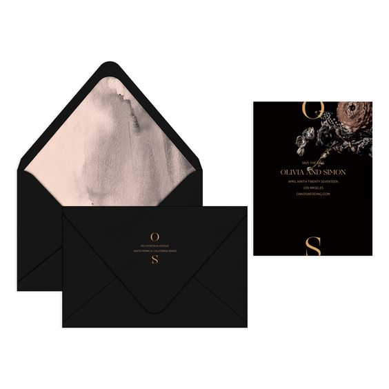 matte black wedding stationery with watercolor neutral lining and realistic bloom prints