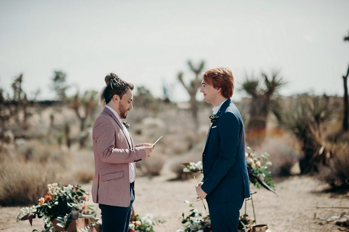 The grooms were reading vows to each other in this desert space
