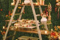 ladder used to display wedding desserts