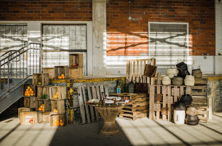 Here's a hidden market setting created for the shoot using only stuff from local shops