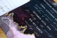 08 an edgy invitation in deep purple and pink with a touch of gold foiling wows