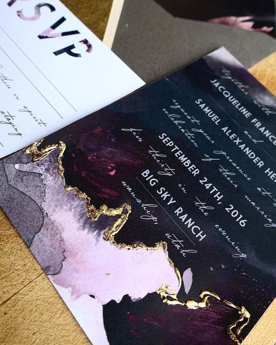 an edgy invitation in deep purple and pink with a touch of gold foiling wows