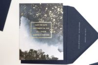 09 a galaxy-inspired wedding invitation suite with gold flecks that show stars