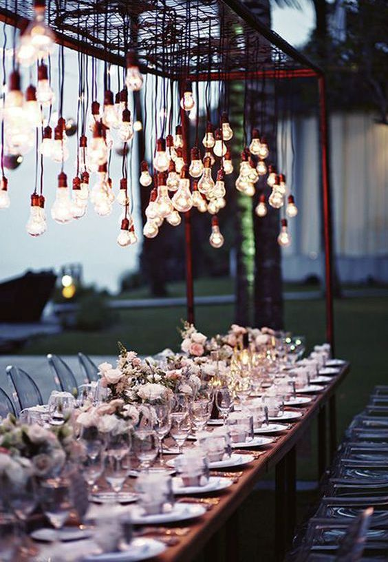 add an edgy industrial touch to your reception with bulbs hanging down