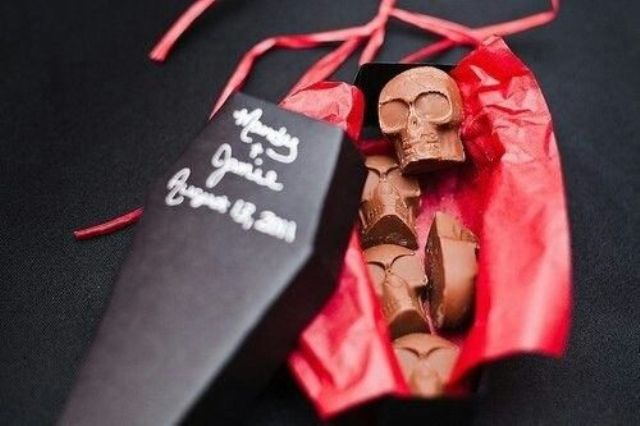 chocolate skull candies packed into coffins are truly a Halloween option