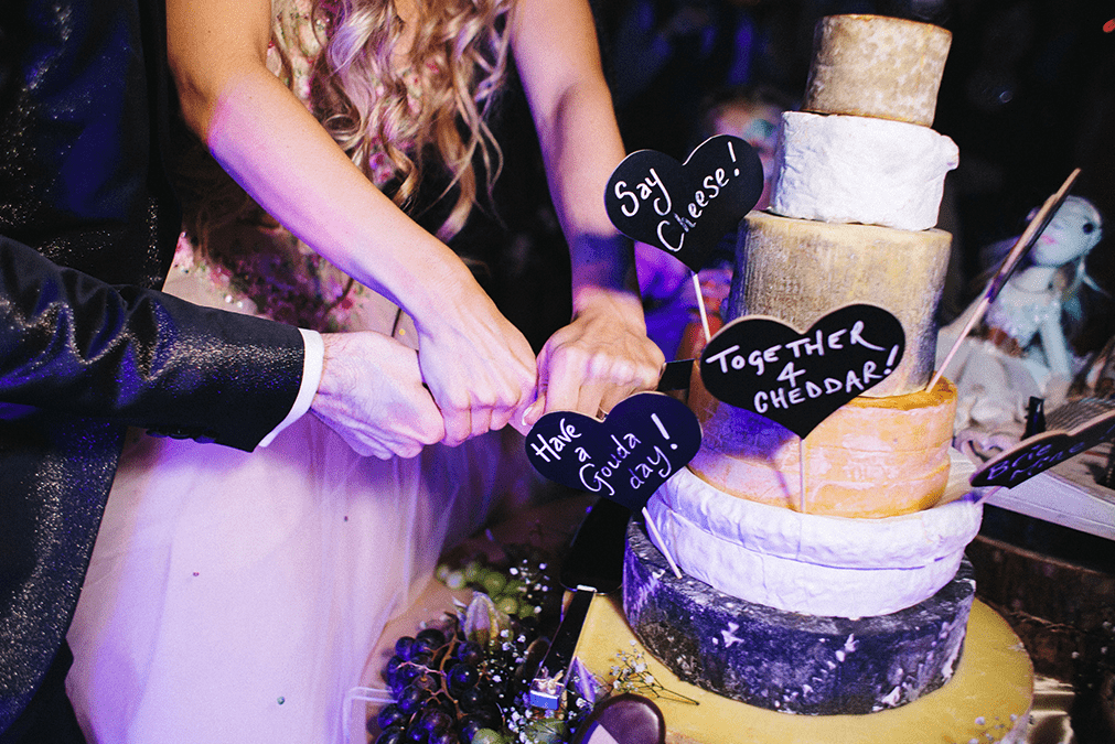 gorgeous cheese tower for a wedding