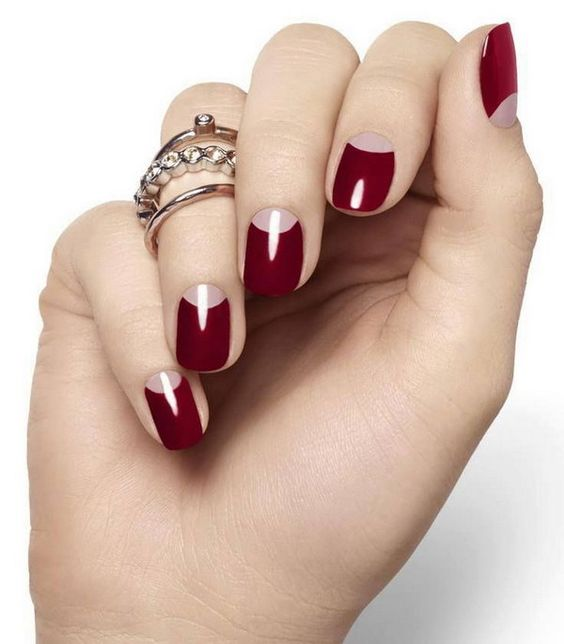 bloody red half moon nails are a chic idea for a fall bride and such manicure can last long thanks to half moons