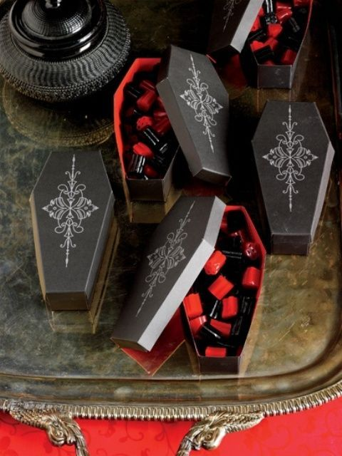 coffins with black and red candies are Halloween classics, which always works