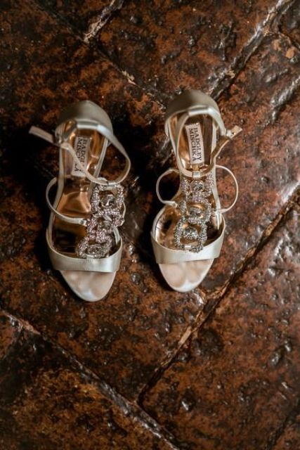 glam metallic strappy shoes with large embellishments for a sparkly touch to your look