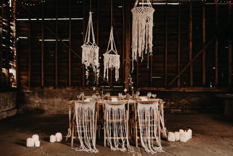 The second tablescape was done indoors, in a barn, and was filled with macrame