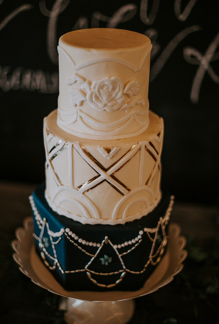 The wedding cake was an art deco one, with a floral, geometric and embellished tier