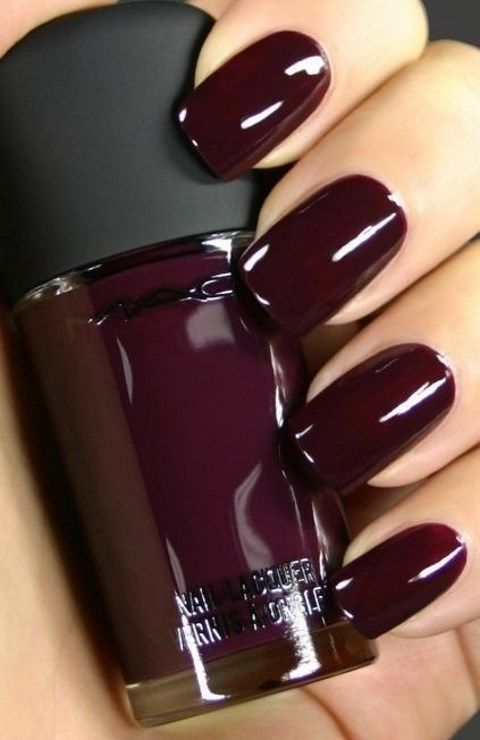 a shiny plum-colored manicure is fall classics, it fits many bridal styles and looks veyr fall-like complimenting the skin