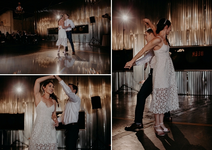 The bride changed for a lace midi dress with spaghetti straps and wedges to dance all night long