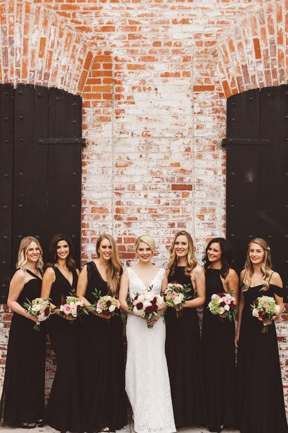 chic black maxi dresses with different necklines and bodices for timeless bridesmaids' style