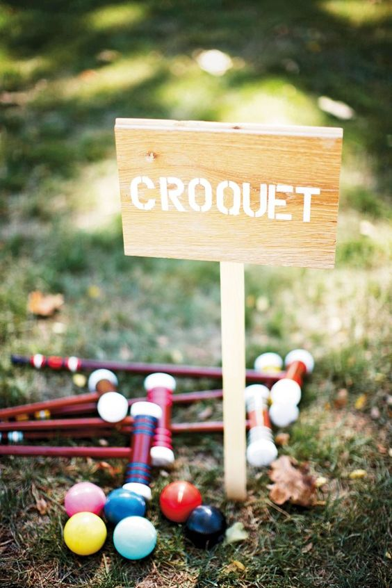 croquet is a timeless idea for any outdoor wedding, use colorful accessories