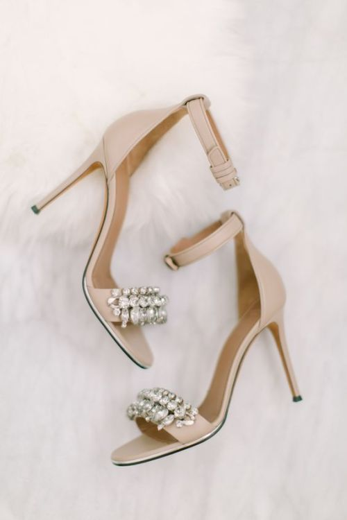 nude ankle strap heels with heavily embellished straps is summertime classics