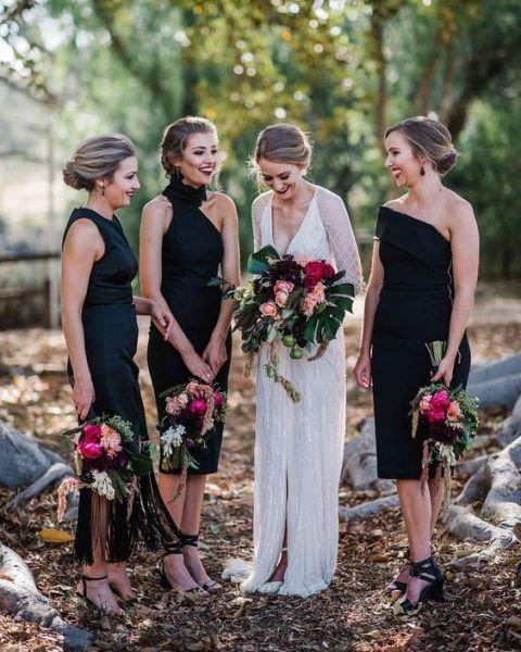 mismatching black knee dresses with black strappy heels for a bold bridesmaids' look