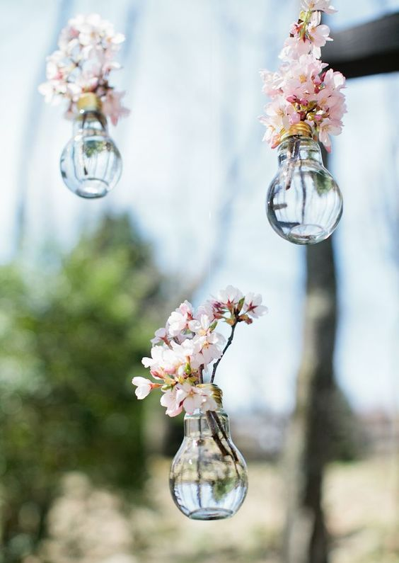 hanging bulbs as little vases for cherry blossom to decorate your wedding venue