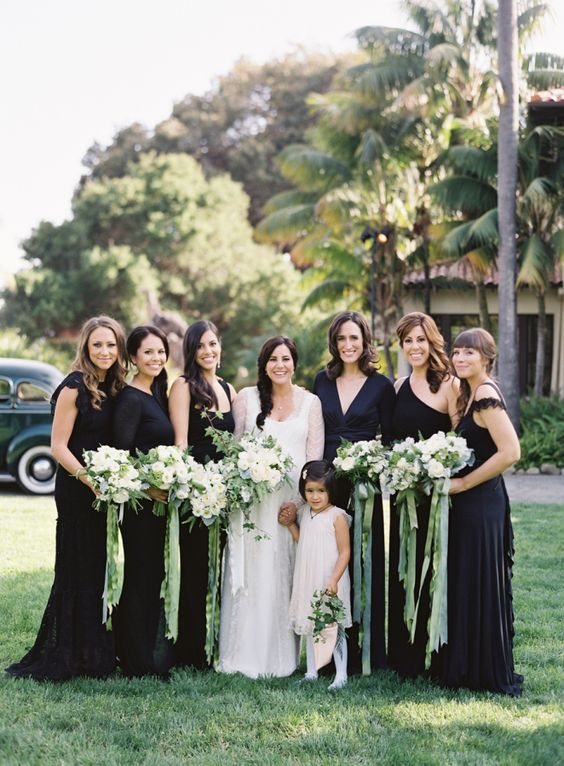 mix and match black bridesmaids' dresses for a timelessly elegant look