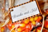 15 individually packed candy corns are traditional for Hallooween and Halloween weddings