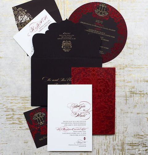 a red, black and white Halloween wedding invitation suite with gold calligraphy is a flawless idea