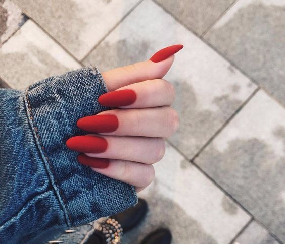 matte hot red nails are a great way to make a colorful statement for your bridal look