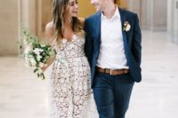 17 a floral lace off the shoulder midi wedding dress plus nude pumps for a city hall wedding