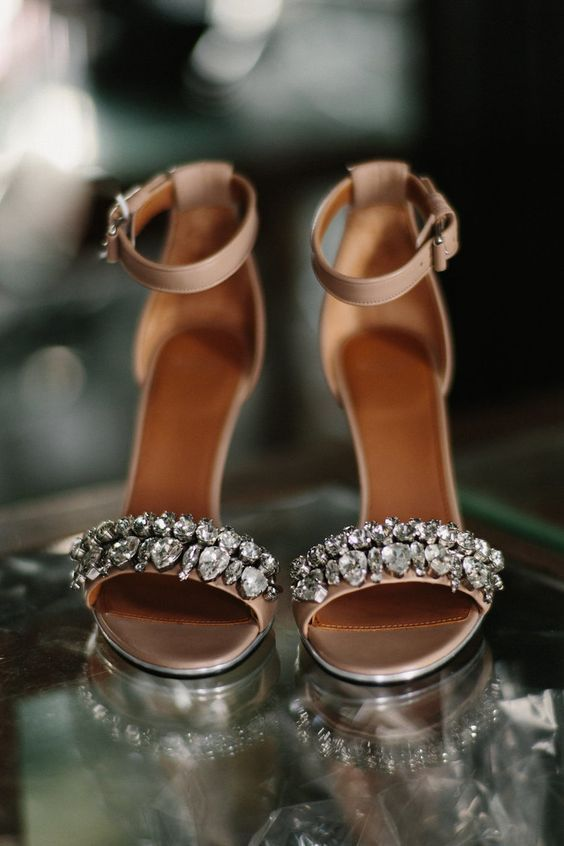 tan heavily embellished heeled sandals for adding a shiny touch to a summer bridal look