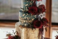 18 a bold wedding cake in forest green with a gold foil tier and bright red peonies