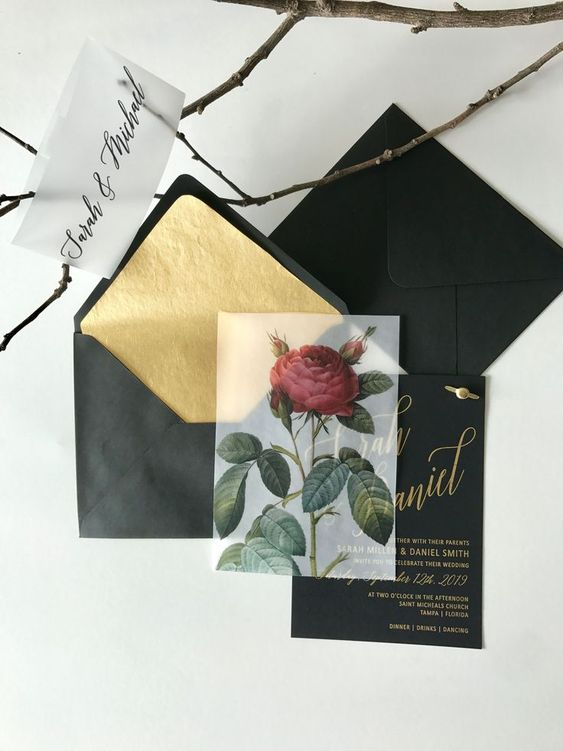black wedding invitation suite with gold calligraphy, gold foil lining and a vellum rose overlay