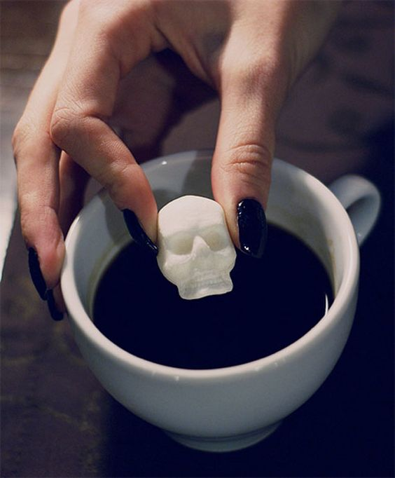skull sugar cubes are a great and simple idea for a Halloween wedding favor