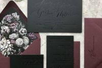 21 a gorgeous black and burgundy invitation suite with pressed calligraphy and floral lining