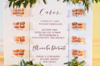 21 a whole sweet table menu used as a backdrop and a trendy donut display