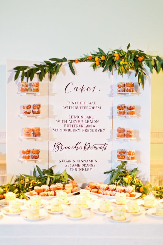 a whole sweet table menu used as a backdrop and a trendy donut display