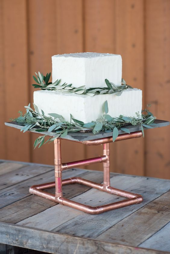 a copper piping cake stand is a creative and fresh idea for an industrial touch on your big day