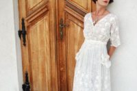 22 a vintage lace midi dress with long sleeves and appliques plus vintage shoes