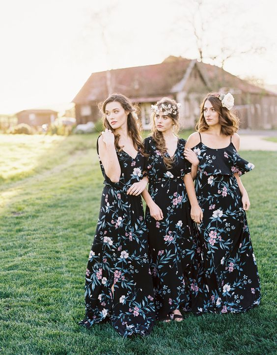 black floral maxi dresses with various necklines and floral headpieces for a boho chic look