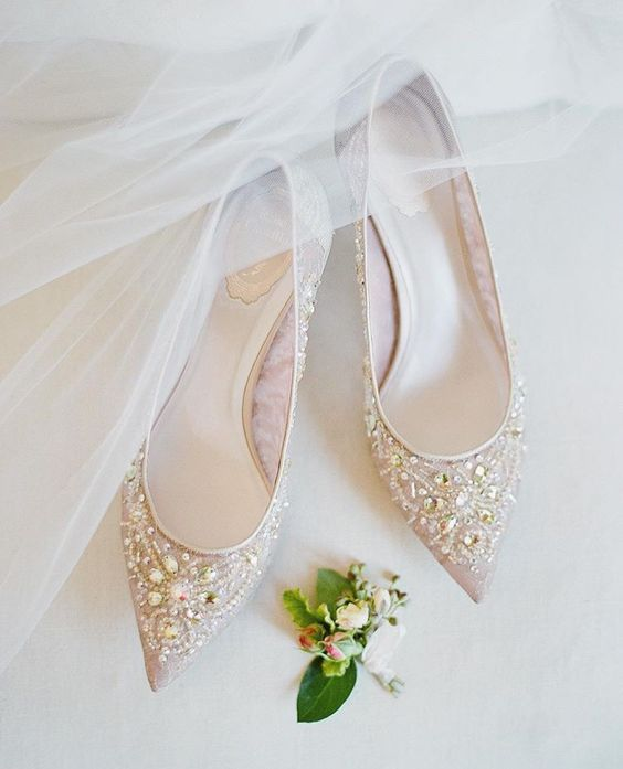 nude pointed toe heavily embellished flats are a chic option for any wedding