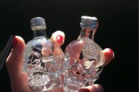 23 skull alcohol bottles can be filled with any type of alcohol you like