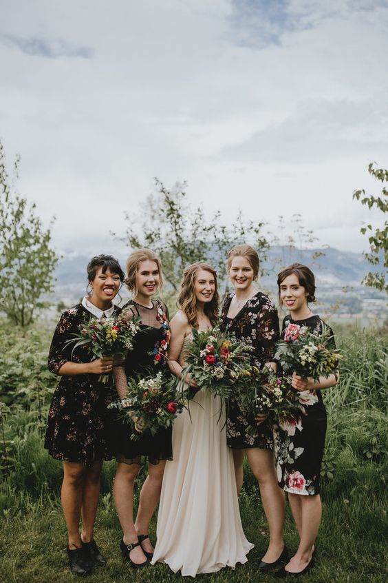 totally mismatching black floral knee dresses to flawlessy rock the mismatched bridesmaids trend