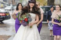 24 a vintage-inspired lace midi A-line wedding gown with statement purple shoes