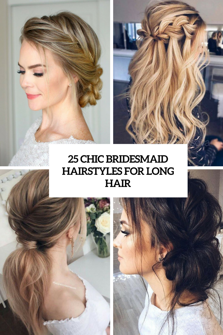 chic bridesmaid hairstyles for long hair cover