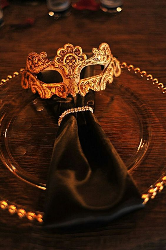 a mask will be a nice idea for a masquerade wedding and your guests can wear them on your big day