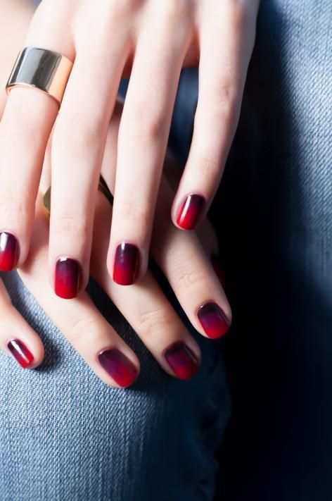 ombre purple to hot red nails are great for a dramatic Halloween bridal look