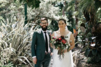 01 This beautiful couple tied the knot in a greenhouse in Melbourne, and the main themes were greenery and books