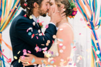 01 This colorful wedding shoot took part outdoors, in a farm, and was filled with bright shades and elegant touches