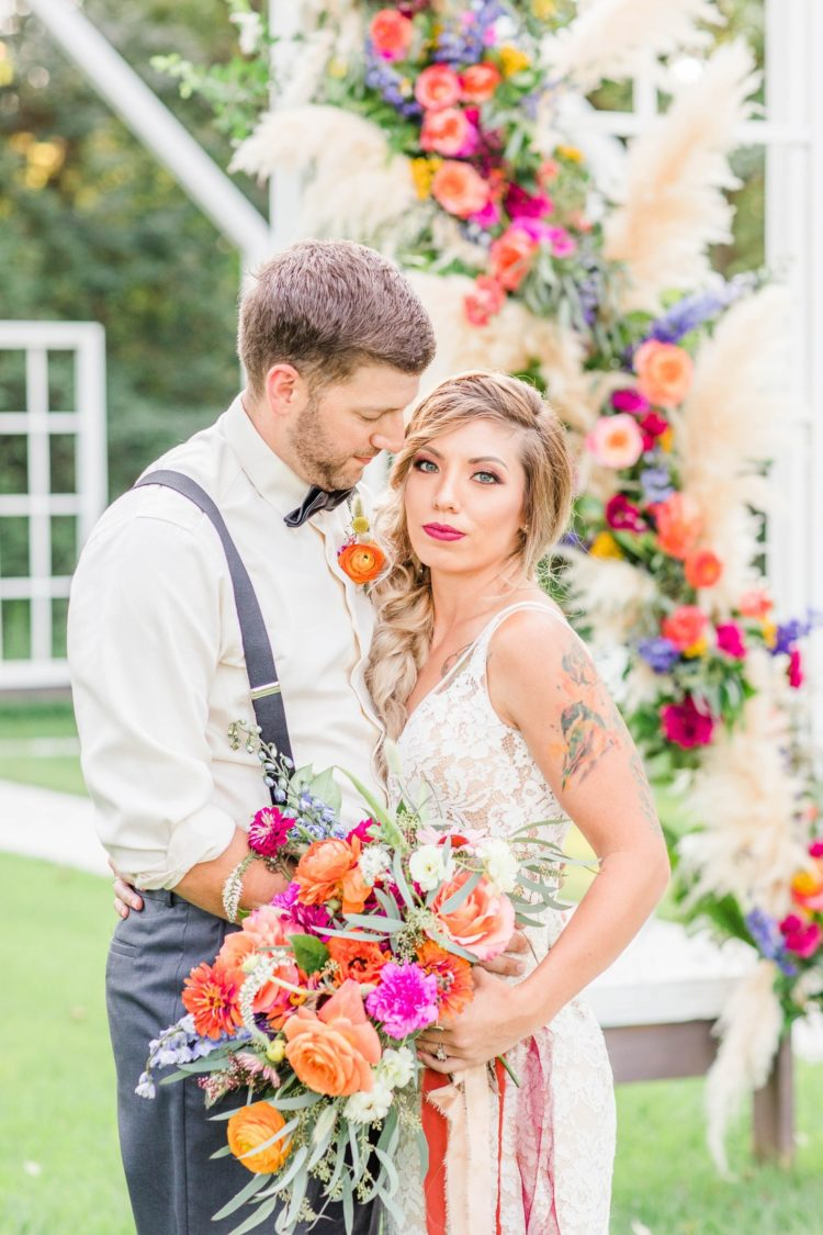 This colorful wildflower wedding shoot was filled with bold shades and various blooms