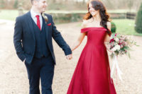 01 This couple opted for a New Year's Eve wedding with deep red and plum touches